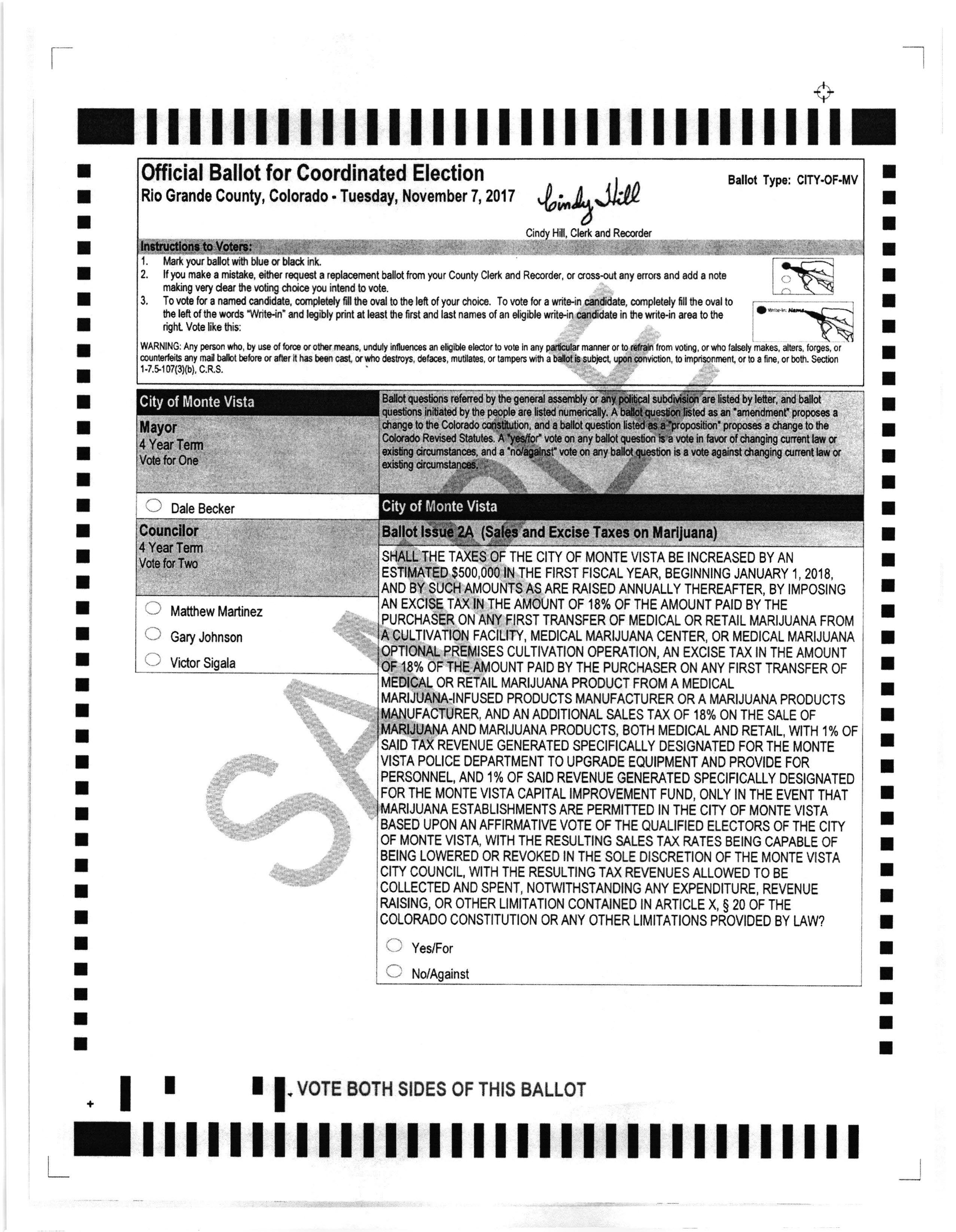 City of Monte Vista Sample Ballot Page 1