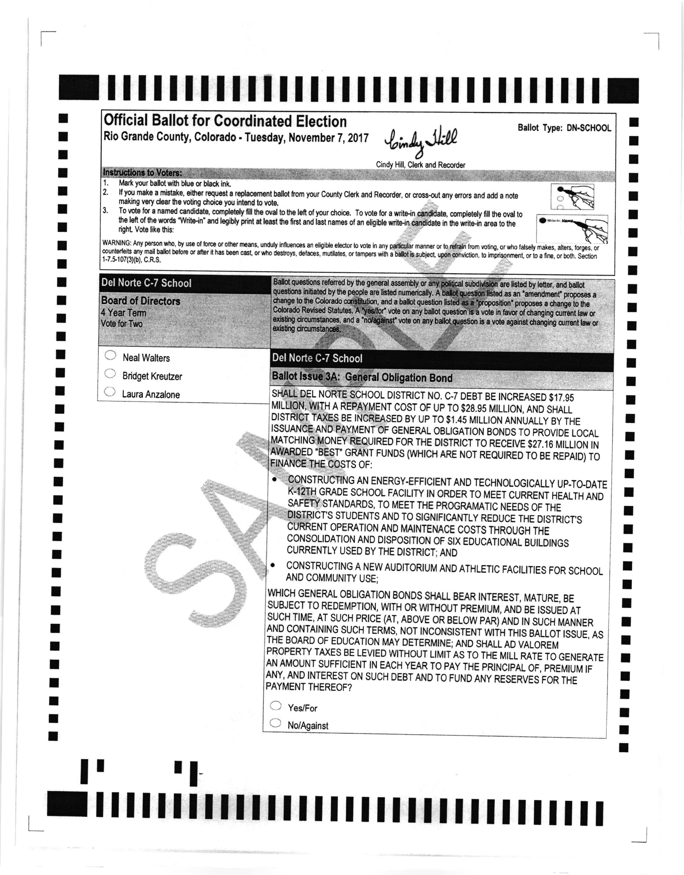 Del Norte School Sample Ballot