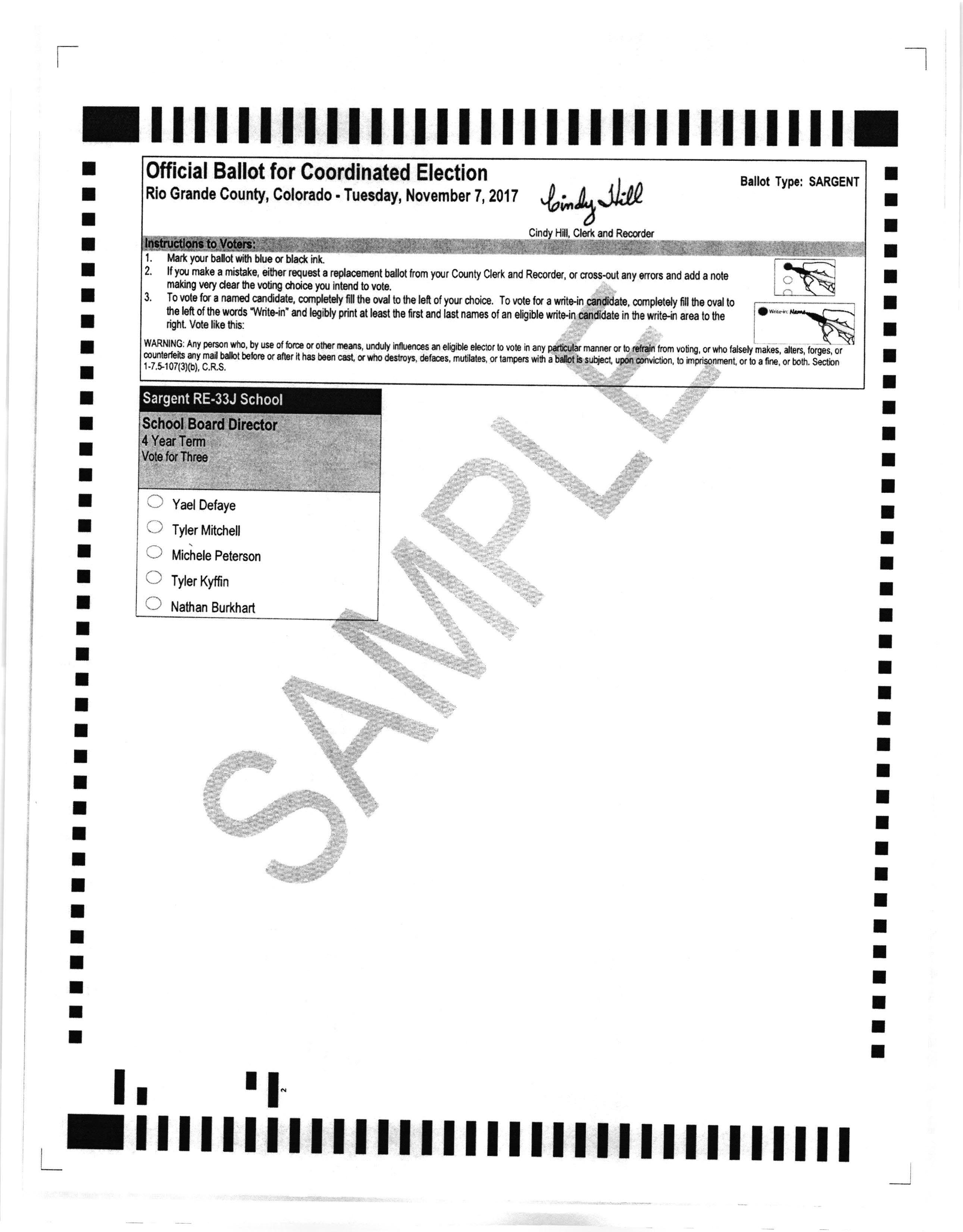 Sargent School Sample Ballot